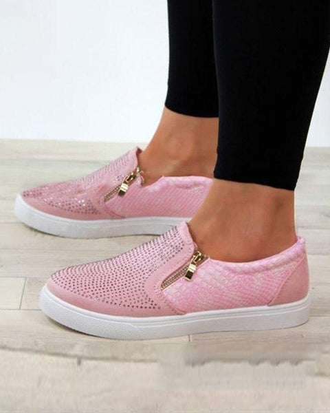 Perforated Slip On Zipper Sneakers