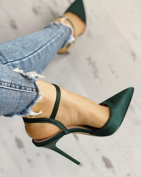 Satin Ankle Buckle Pointed Toe Thin Heeled Sandals