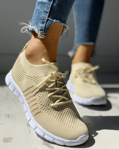 Knitted Breathable Lace-Up Striped Sneakers