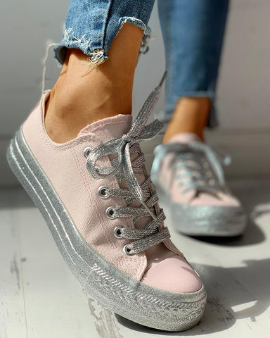 Glitter Casual Lace-Up Sneakers