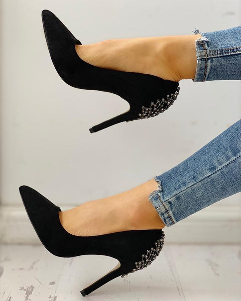 Rivets & Metallic Embellished Pointed Toe Heels