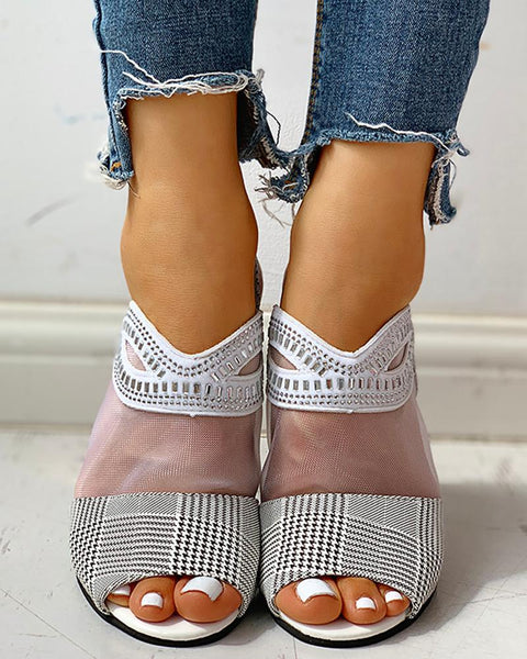 Studded Mesh PU Splicing Peep Toe Chunky Sandals