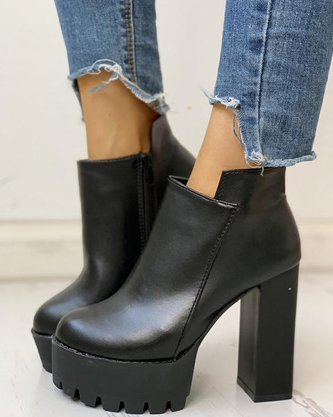 Solid Platform Chunky Heeled Boots