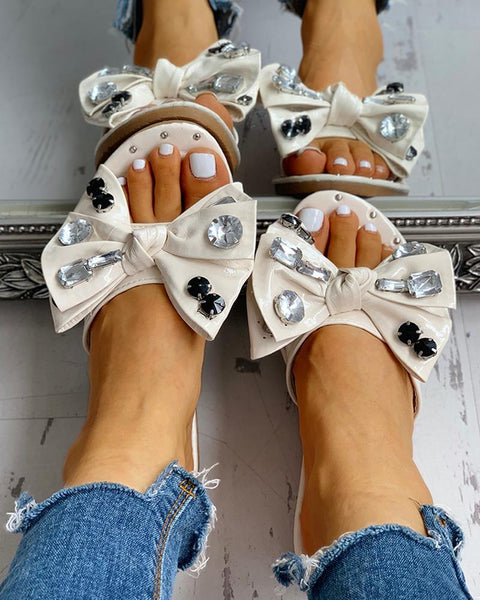 Studded Bowknot Design Casual Slipper Sandals