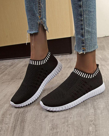 Solid Perforated Flat Sneakers