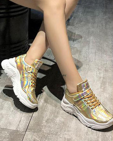 Metallic Perforated Lace-Up Sneakers