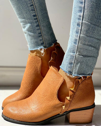 Solid PU Frill Insert Chunky Heeled Boots