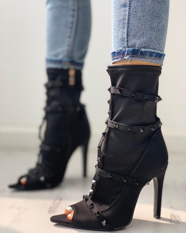 Rivet Embellished Peep Toe Thin Heeled Boots