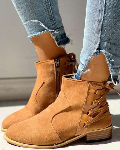 Pointed Toe Lace-up Chunky Heeled Boots
