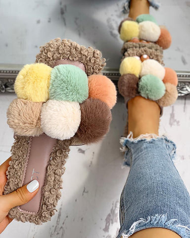 Villus Fluffy Casual Flat Sandals