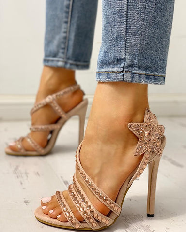 Studded Star Pattern Thin Heeled Sandals