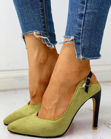 Suede Pointed Toe Slingback Thin Heels
