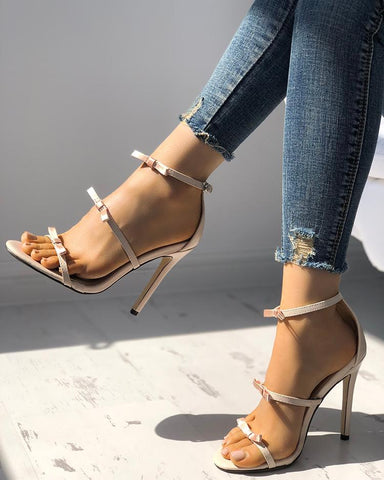 Elegant Bow Tie Ankle Strap Stiletto Sandals
