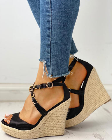 Chain Detail Espadrille Wedge Sandals