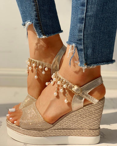 Bead Studded Detail Platform Wedge Sandals