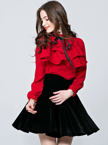 Pure Color Bow Tied Blouse