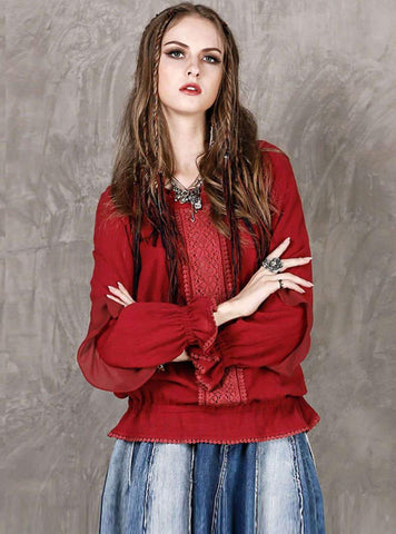Red Cotton Loose Spliced Blouse
