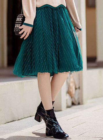 Solid Color Mesh Elastic Waist Skirt