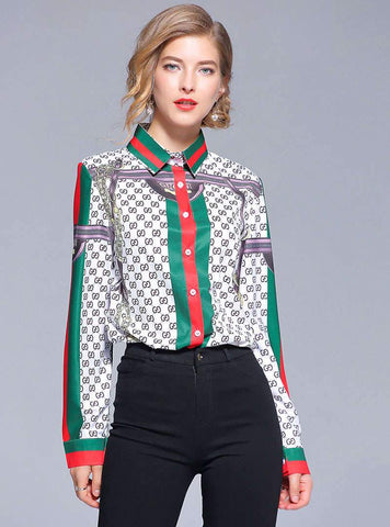 Vintage Lapel Printed Plaid Blouse