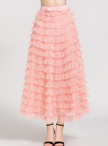 Pink Bowknot Lace Tiered Skirt