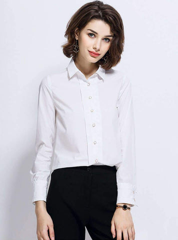 White Turn Down Collar Cotton Blouse