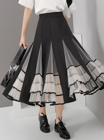 Patchwork With Mesh Pleated Skirt