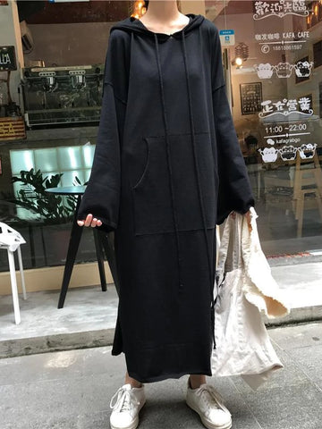 Long Sleeve Hooded Sweater Dress