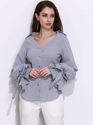 Silver Lantern Sleeve V-Neck Blouse