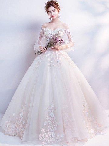 Flower Embroidery Sashes Bead Mesh Slash Neck Flare Sleeves Long Wedding Dresses