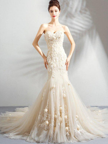 Solid Color Embroidery Trailing Contrast Sashes Mermaid Wedding Dresses