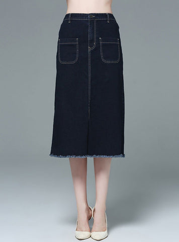 Blue Split Elastic Waist Denim Skirt