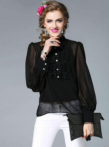 Solid Color Stand Neck Lace Blouse