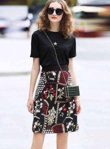 Black A-Line Embroidered Casual Floral Daily Midi Skirt