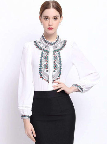 Floral Embroidered Buckle Stand Collar Blouse