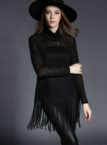 Black High Neck Tassels Lace Blouse