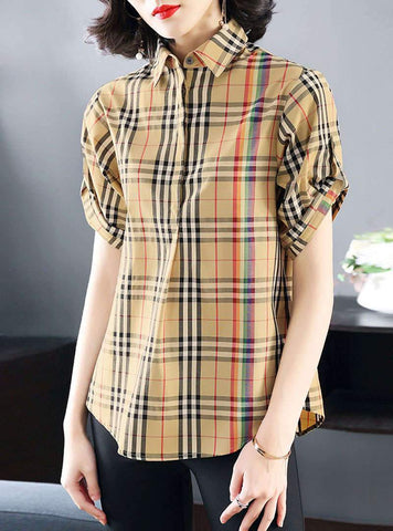 Khaki Rainbow Plaid Short Sleeves Blouse