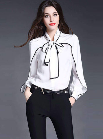 Contrast Color Lace-up Bow Tie Blouse
