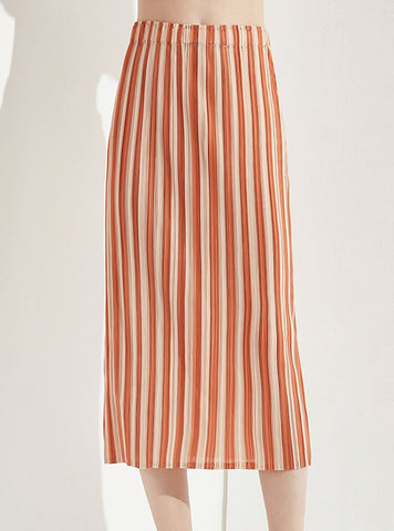 Orange Striped Skirt