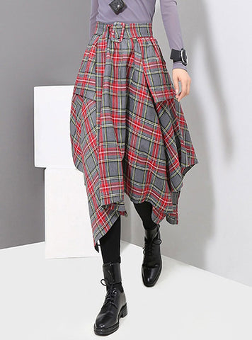 Dark Blue High Waist Asymmetric Plaid Skirt With Waist Band