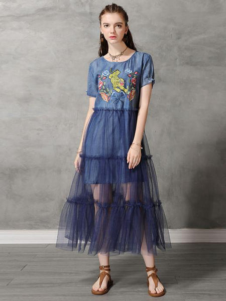 Mesh Split-joint Embroidered Midi Dress