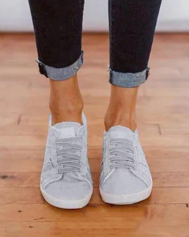 Denim Simplistic Lace-Up Sneaker