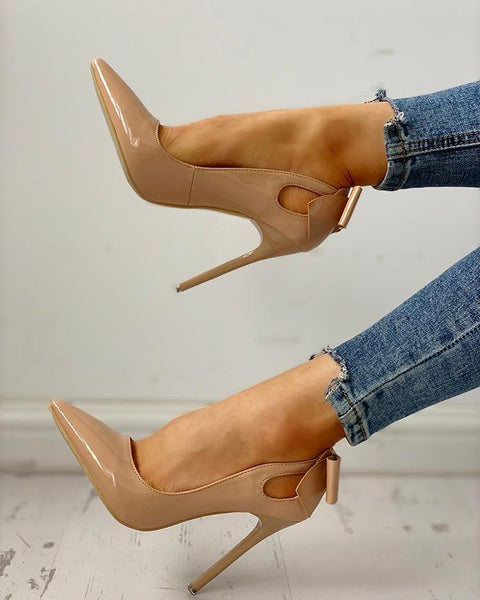 Pointed Toe Bowknot Cutout Thin Heels