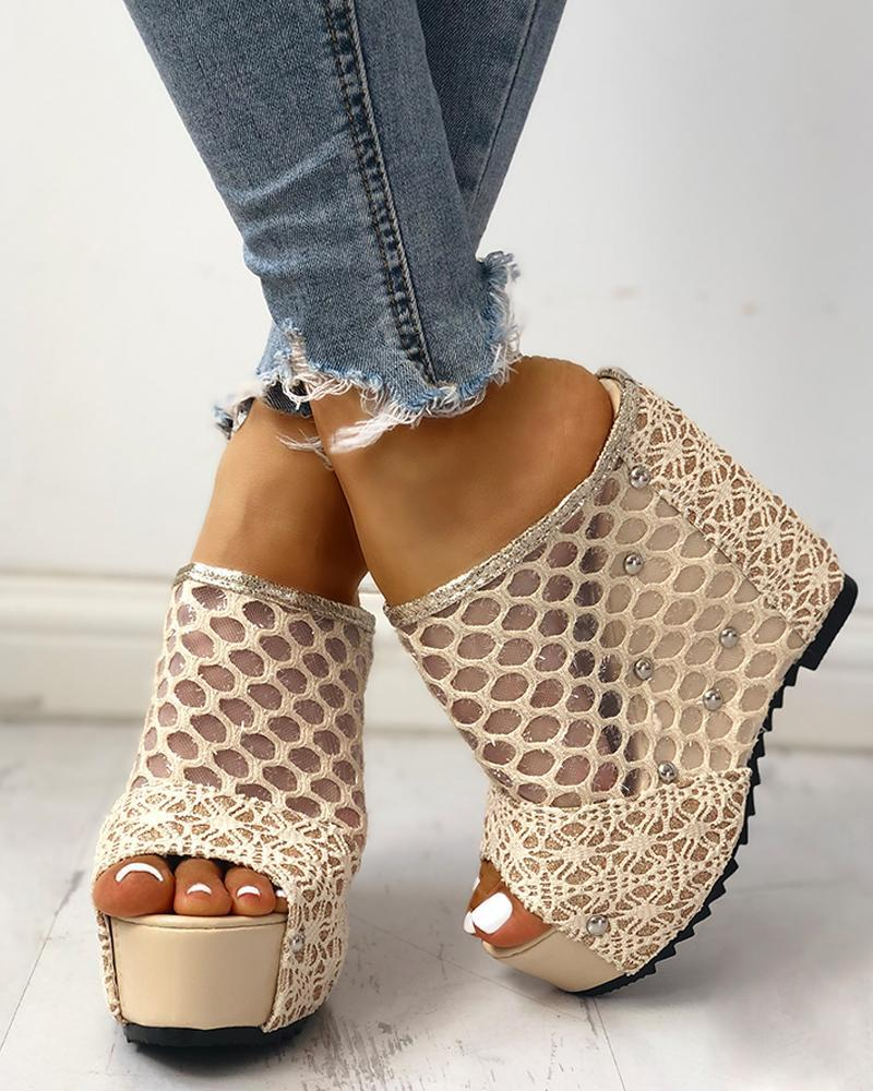 Mesh Hollow Out Platform Wedge Sandals