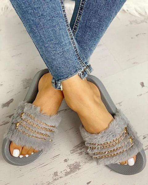 Fluffy Chain Detail Open Toe Slippers