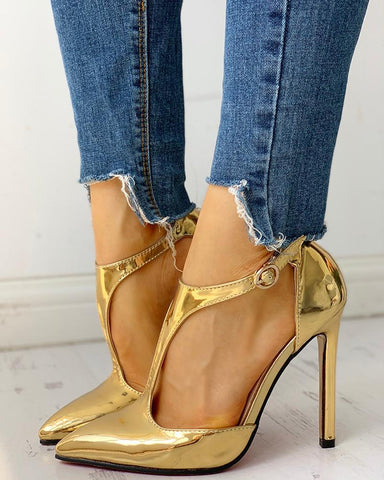 Pointed Toe Buckled Thin Heels
