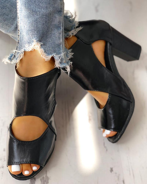 Peep Toe Cutout Rivet Chunky Heeled Boot