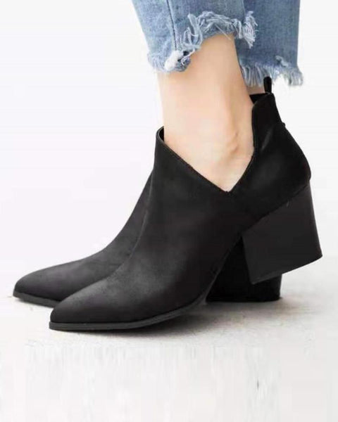 Side Zip Heeled Ankle Bootie