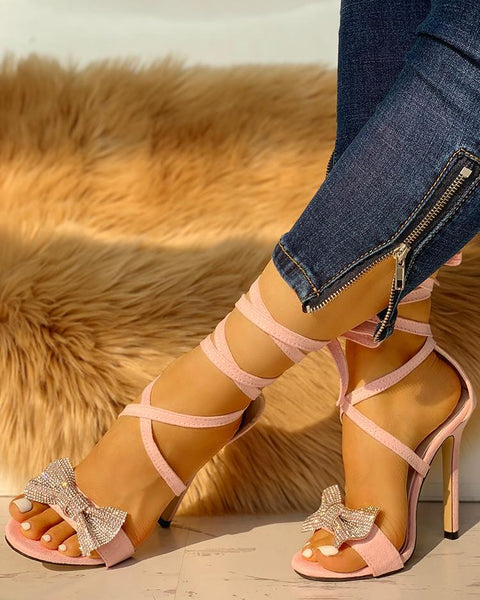 Glitter Bow Crisscross Thin Heeled Sandals