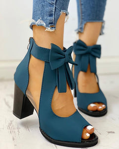 Peep Toe Mesh Insert Bowknot Chunky Heeled Sandals