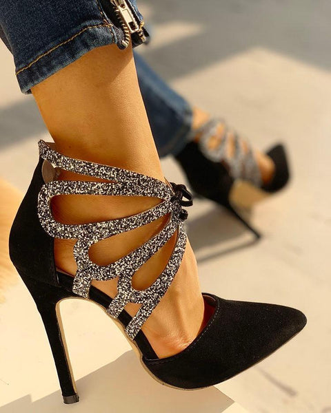 Glitter Pointed Toe Hollow Out Thin Heels